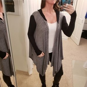 LNA Brisbane Open Cardigan Black & Grey W/ Hood
